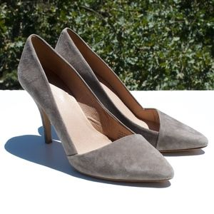 Madewell The Mira Gray Suede Heels Pumps 11